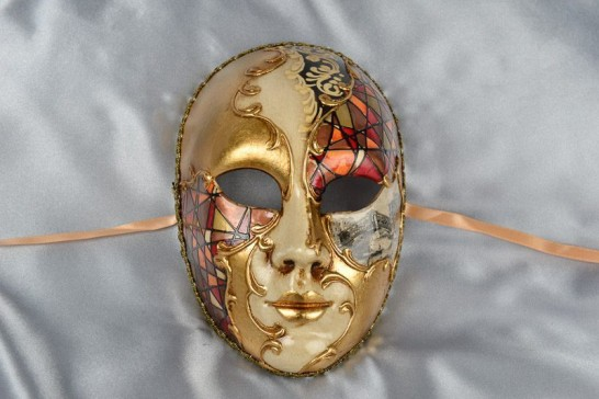 rust full face mask with scenes of Venice