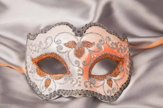 peach and silver mask - Iris
