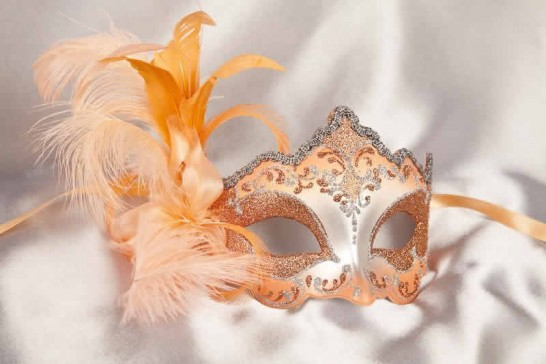 side feather masquerade mask in peach