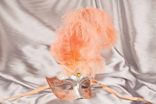 Peach Struzzo Silver - Ladies Ball Mask with Centre Feathers