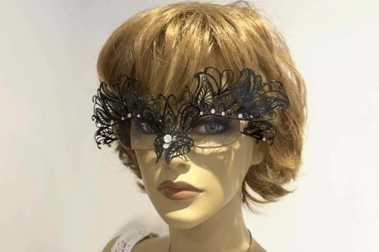 masquerade mask for glasses Petal Strass attached to glasses frames