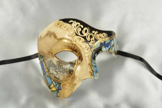 Blue and gold Phantom Masquerade Masks with Scenes of Venice