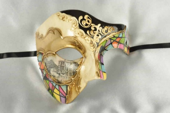 Multi colour Phantom of the opera mask with Venetian Scenes