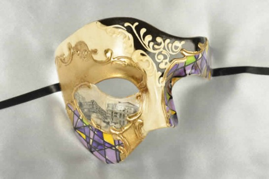 Purple and gold Phantom Masquerade Masks with Scenes of Venice