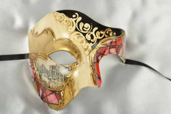 Red and gold Phantom Masquerade Masks with Scenes of Venice