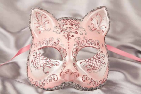 Pink silver Cat Mask for Animal Masquerading
