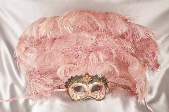 Full feathered Rio carnival mask for Venetian ball in gold and pink