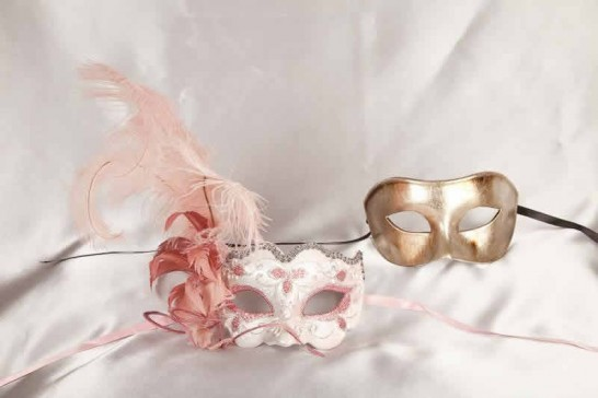 pink silver couples masks