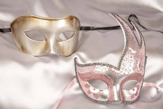 Pink silver ball masks for couple