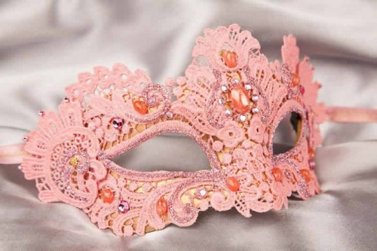 pink lace macrame ball mask
