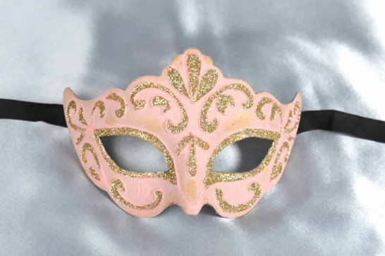Pink paper mache mask for women