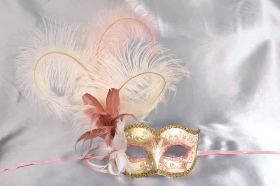 Ladies feathered ball mask - pink