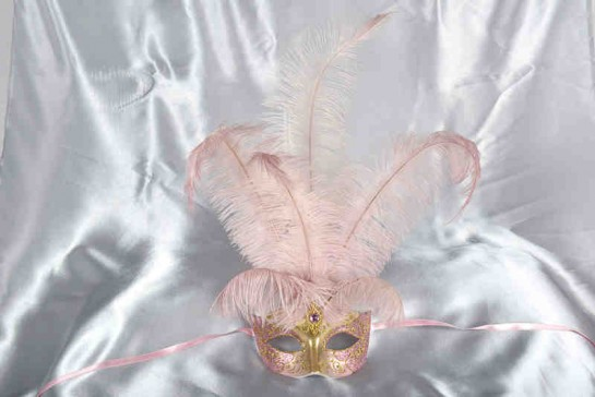 pink centre feather mask - Struzzo Gold