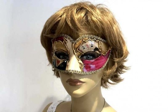 Poker decorated Semplice sweetheart masquerade mask shown on female face