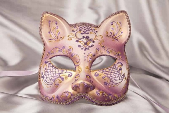 Purple gold Cat shaped masquerade mask