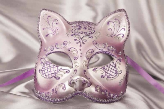 Purple Silver Cat Mask for Animal Masquerading