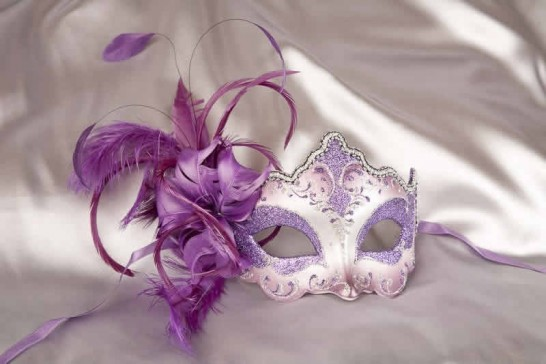 side feather masquerade mask in purple