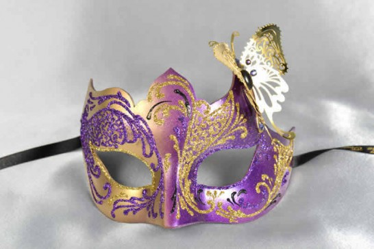 purple gold butterfly ball mask