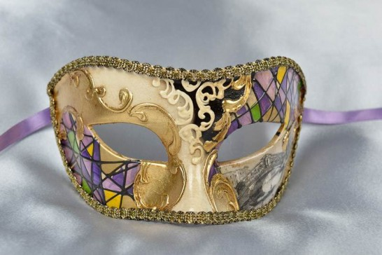 Purple Mask with Venetian Scenes