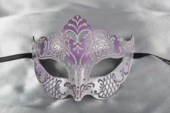 Tiara shaped masquerade mask in silver and purple
