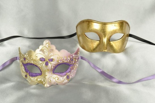 Purple Colo Giglio Fiore - His and Hers Masks for a Masked Ball
