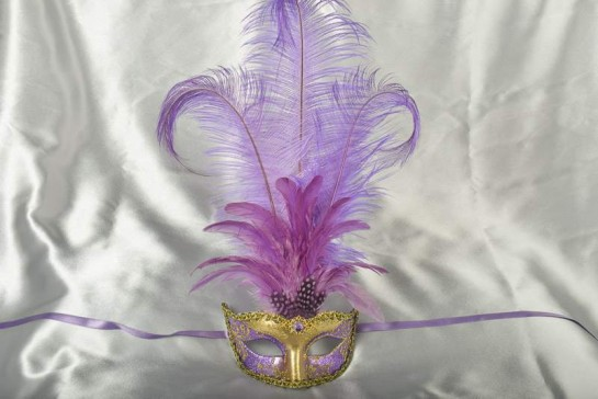 tall feather ladies masquerade mask in purple and gold