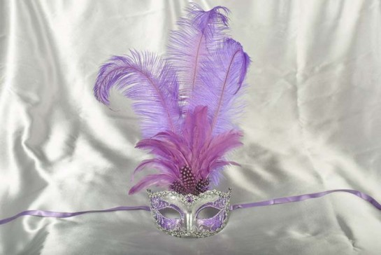 Luxury tall feather masquerade mask in purple
