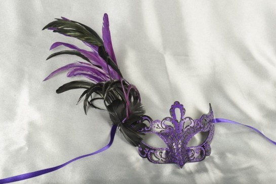 Paper Mache Venetian Mask with feathers in purple and black
