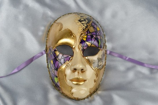 purple full face mask with scenes of Venice