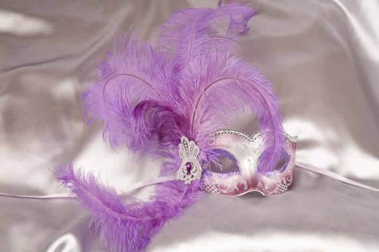 Purple and Silver Side Feather Mask