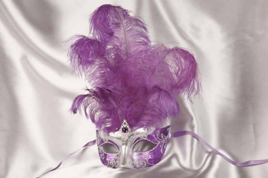 Purple Struzzo Silver - Ladies Ball Mask with Centre Feathers
