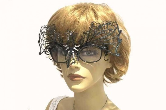 masquerade mask for glasses Ragnatela Strass attached to glasses on female