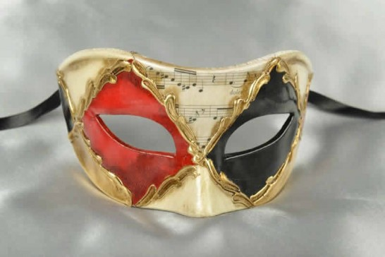 Colombina Losanga masquerade mask in black and Red