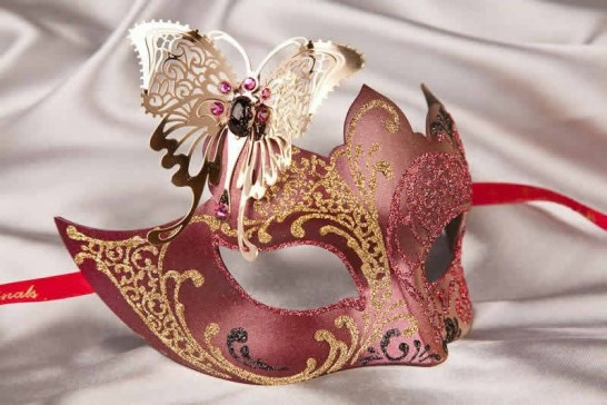 Red Teresa Gold - Womens Eye Masks with Filigree Metal Butterfly