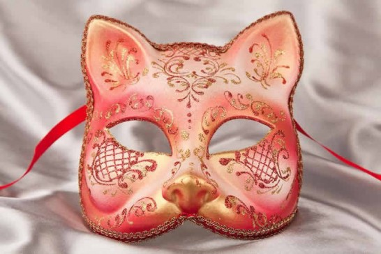 Red gold Cat shaped masquerade mask