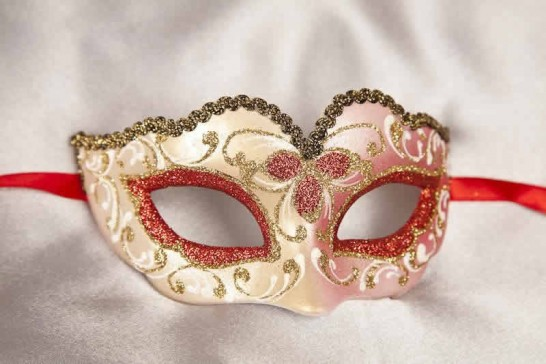 Red Baby Fiore Gold - Small Carnival Masks