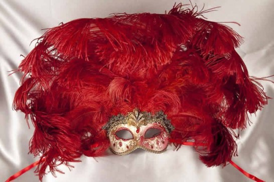 Full feathered Rio carnival mask for Venetian ball in gold and red