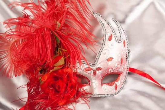 Silver Venetian Swan Masks with feathers in red