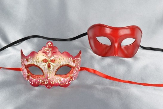 Pair of red and gold Venetian masks for couple