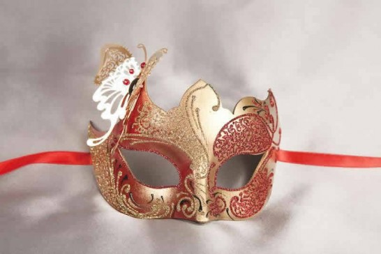 red gold butterfly ball mask