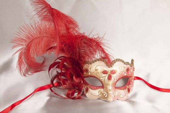 Red Iris Piuma Gold - Ladies Side Feather Eye Mask