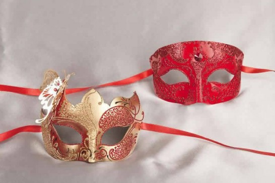 red couples butterfly masks