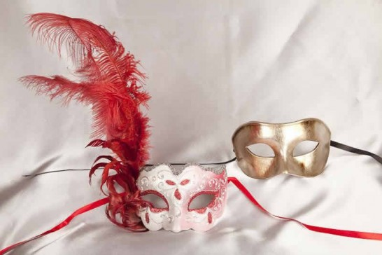 red silver couples masks