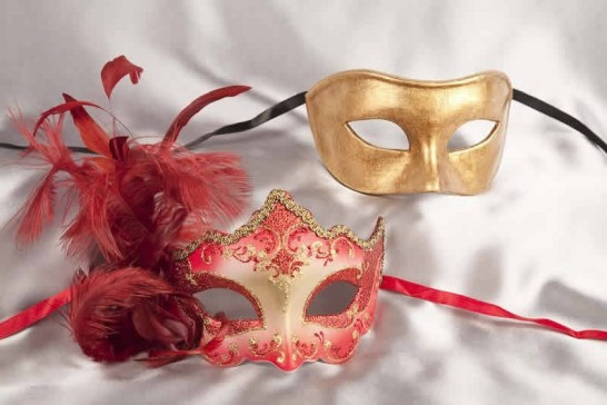 red gold couples ball masks