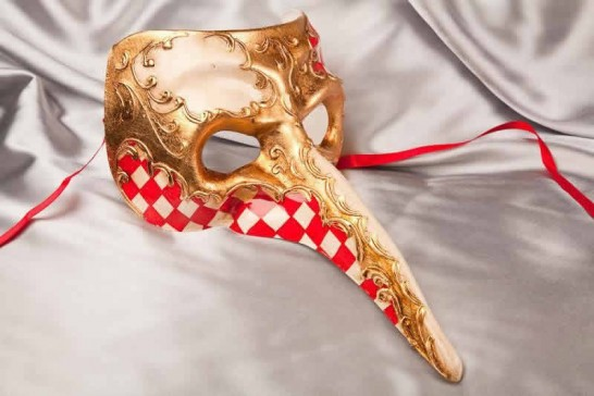 Red Venetian Nose Masks with Diamond Pattern