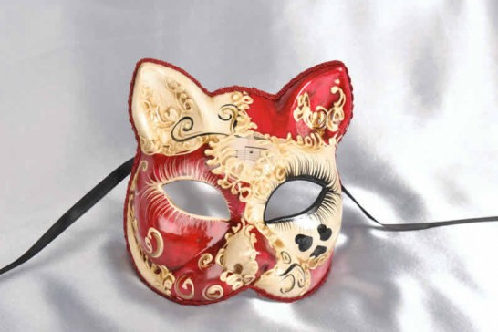 Decorative cat mask with heart detail in red