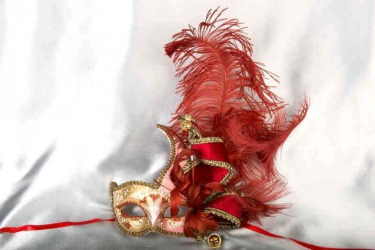Cigno Armony Gold Venetian Jester Masks with feathers in red