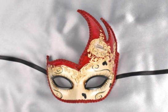 Red love hearts masquerade mask