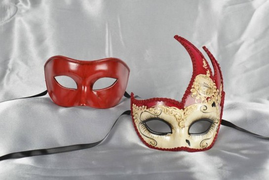 red and cream couples masks with hearts