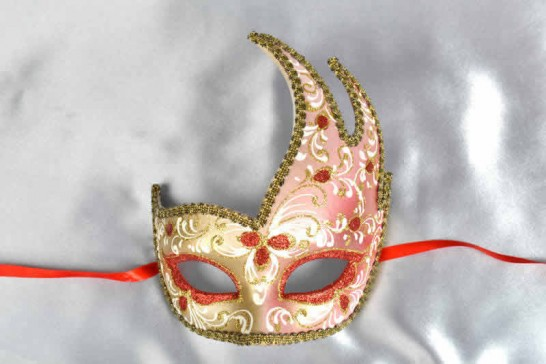 red gold swan carnival mask